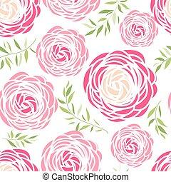 roze, model, bloemen, seamless