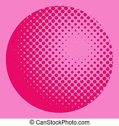 roze, model, globe, halftone, achtergrond, radiaal