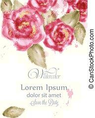 roze, mooi, card., kaart, uitnodiging, groet, ceremonie, watercolor, rozen, kleuren, delicaat, vector., trouwfeest, datum, vrouwen, sparen, dag, kaart, postkaart