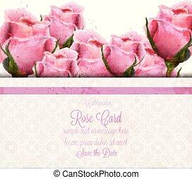 roze, mooi, card., trouwfeest, achtergronden, of, watercolor, rozen, vector, uitnodiging, datum, sparen, template.