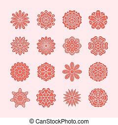 roze, mooi, communie, silhouette, card., zomer, set, doodle, achtergrond, illustratie, color., drawing., bloem, ontwerp, schattig, zentangle, floral, trouwfeest, bloemen, rood