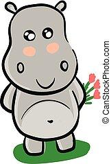 roze, nijlpaard, grijze , illustratie, vector, achtergrond, het glimlachen, bloemen, witte