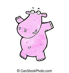 roze, nijlpaard, spotprent