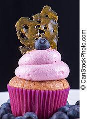 roze, olie, op, verbrijzelen, vrijstaand, tegen, cupcake, ...