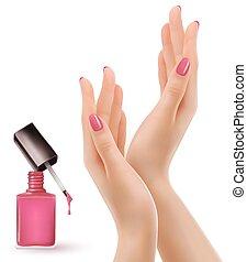 roze, opgepoetste, nails., nagellak, vector., handen,...