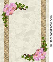roze, orchids, klimop, grens