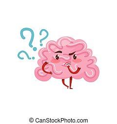 roze, organ., peinzend, expression., beweeglijk, app, character., plat, gezicht, hersenen, vector, menselijk, sociaal, spotprent, humanized, of, netwerk
