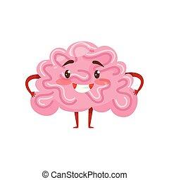 roze, organ., weinig; niet zo(veel), legs., plat, gezicht, character., armen, hersenen, vector, menselijk, het glimlachen, gekke , humanized, spotprent, pictogram