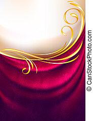 roze, ornament, weefsel, drapes