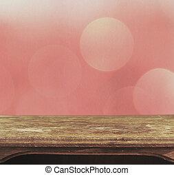 roze, ouderwetse , bokeh, achtergrond, tafel, patten
