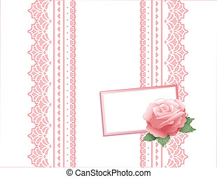 roze, ouderwetse , cadeau, kant, roos