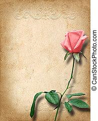 roze, ouderwetse , gelukwens, kaart, rozen
