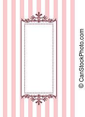 roze, ouderwetse , gestreepte , vector, frame