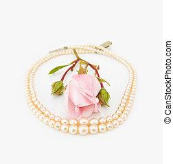 roze, ouderwetse , parels, roos