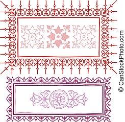 roze, ouderwetse , schets, frame, rood