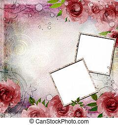 roze, ouderwetse , set), 1, rozen, groene achtergrond, (, lijstjes