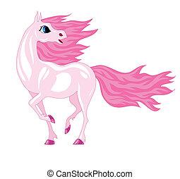 roze, paarde, magisch, manen