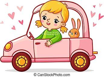 roze, paardrijden, meisje, auto., konijn
