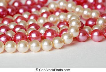 roze, parels, gekleurde, room