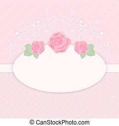 roze, pastel, illustration., roos, vector, bloemen, kaart