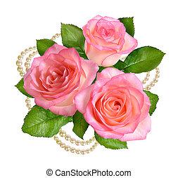 roze, pearls., roos, vrijstaand, achtergrond., witte , samenstelling
