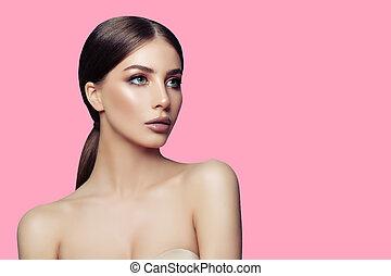 roze, perfect, vrouw, gezonde , jonge, achtergrond., helder, aantrekkelijk, huid, model