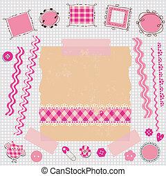 roze, plakboek, uitrusting