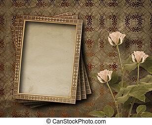 roze, postkaart, ouderwetse , rozen, uitnodiging, bos