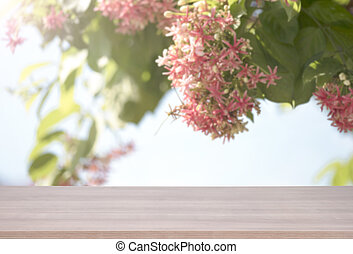 roze, product, bloem, bovenzijde, montage., bokeh, hout, achtergrond, tafel, display