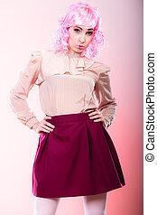 roze, pruik, vrouw, visage, creatief