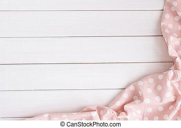 roze, punten, image., copyspace, houten, licht, op, bovenzijde, polka, gebleekte, ineengevouwen , text., tafelkleed, tafel., jouw, aanzicht