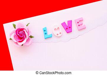 roze, rose., liefde brief