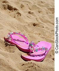 roze, sandalen