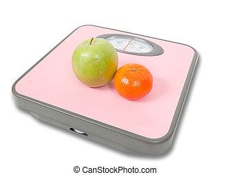 roze, schalen, weging, vruchten