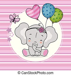 roze, schattig, ballons, achtergrond, elefant