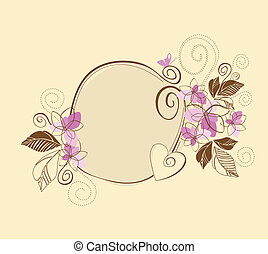 roze, schattig, frame, floral, bruine