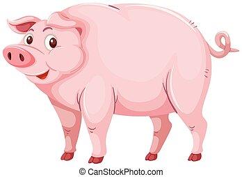roze, schattig, karakter, varken