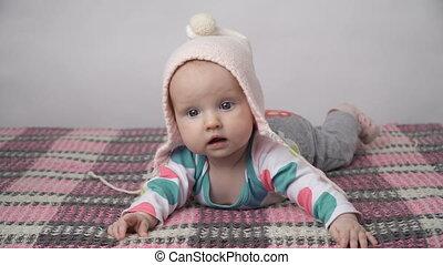 roze, schattig, meisje, hoedje, baby