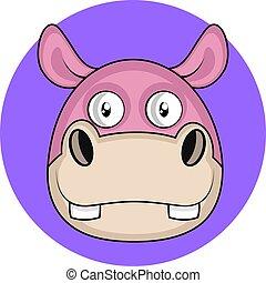 roze, schattig, nijlpaard, vector, achtergrond, illustartion, witte , spotprent