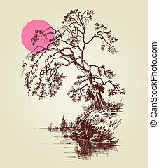 roze, schets, volle, boompje, meer, maan, rivier, of