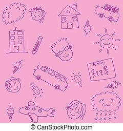 roze, school geitjes, doodle, kunst