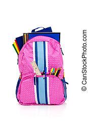 roze, schooltas, met, schoolbenodigdheden
