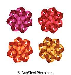 roze, set, cadeau, gele, buigingen, rood, sinaasappel, lint