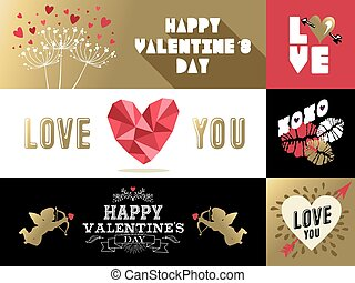 roze, set, goud, valentines, etiket, retro, heilige, spandoek