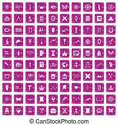 roze, set, grunge, iconen, archeologie, honderd