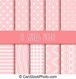 roze, set, seamless, motieven, achtergrond, geometrisch