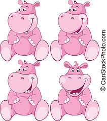 roze, set, -, teeth, nijlpaard, eerst