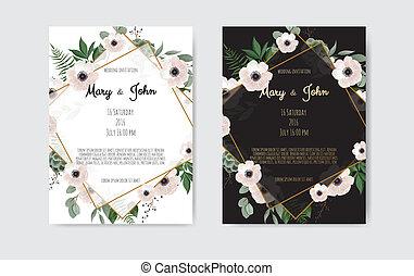 roze, set., uitnodiging, flowers., vector, mal, trouwfeest, witte , flora, ontwerp, kaart