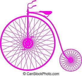 roze, silhouette, fiets, ouderwetse