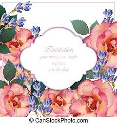 roze, sleutelbloem, flowers., lavendel, uitnodiging, rozen, kleuren, vector., huwlijkskaart